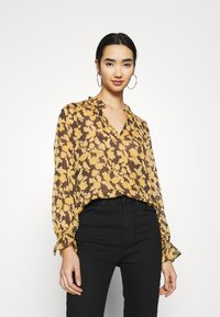 Object - OBJSILJE TOP - Blouse - black/honey ginger - 0