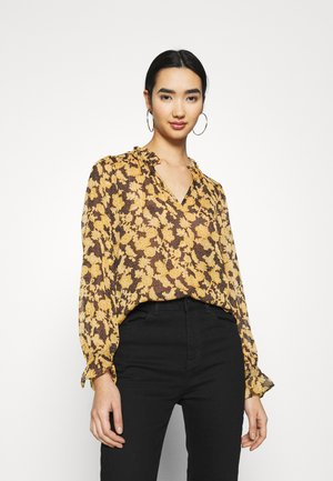 OBJSILJE TOP - Blouse - black/honey ginger