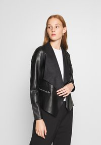 Dorothy Perkins - WATERFALL JACKET - Faux leather jacket - black - 0