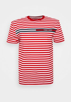 BRANDED STRIPE TEE - T-shirt z nadrukiem - deep crimson/multi