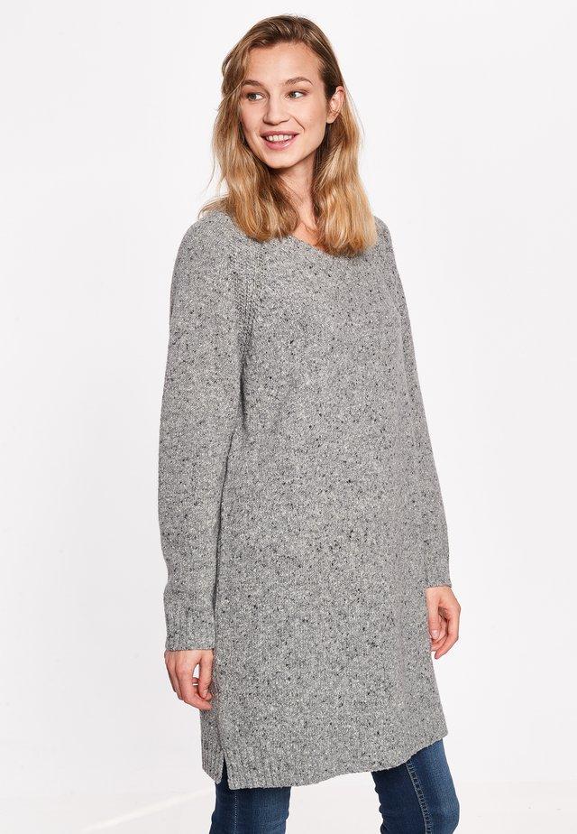 GINA - Gebreide jurk - grey melange