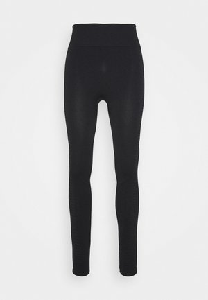SEAMLESS HIGH WAIST TEXTURED - Medias - black