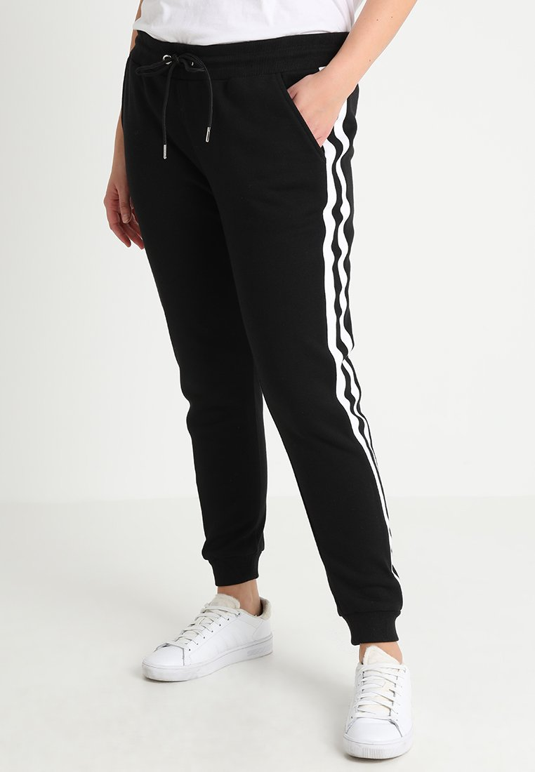 Urban Classics Curvy - LADIES COLLEGE CONTRAST - Tracksuit bottoms - black/white