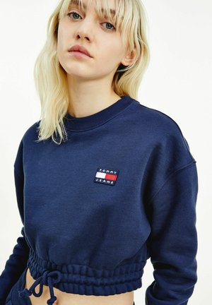 SUPER CROPPED BADGE CREW - Pullover - blue