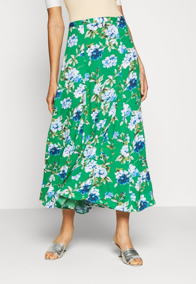GODET PRINTED MIDI SKIRT - Gonna a campana - green