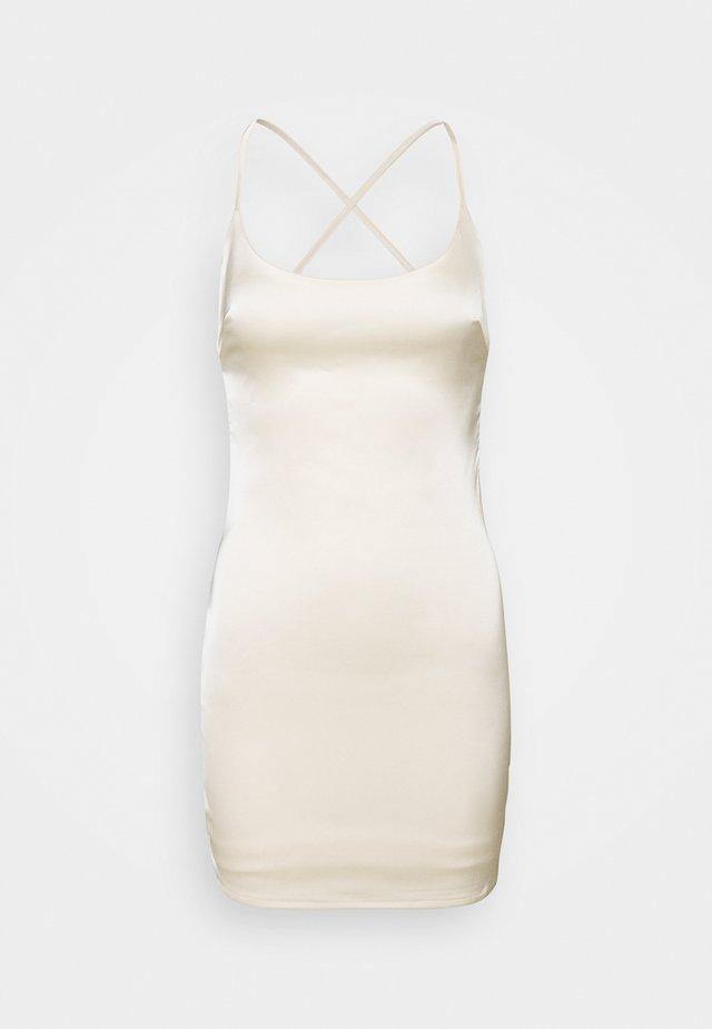 CROSS BACK STRAP BODYCON DRESS - Robe de soirée - cream