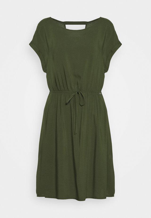 OVERCUT SHOULDER DRESS - Day dress - dusty rifle green
