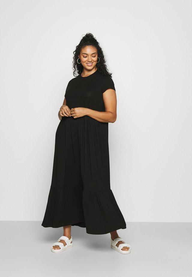 TIERED SMOCK MIDAXI DRESS - Maxi šaty - black