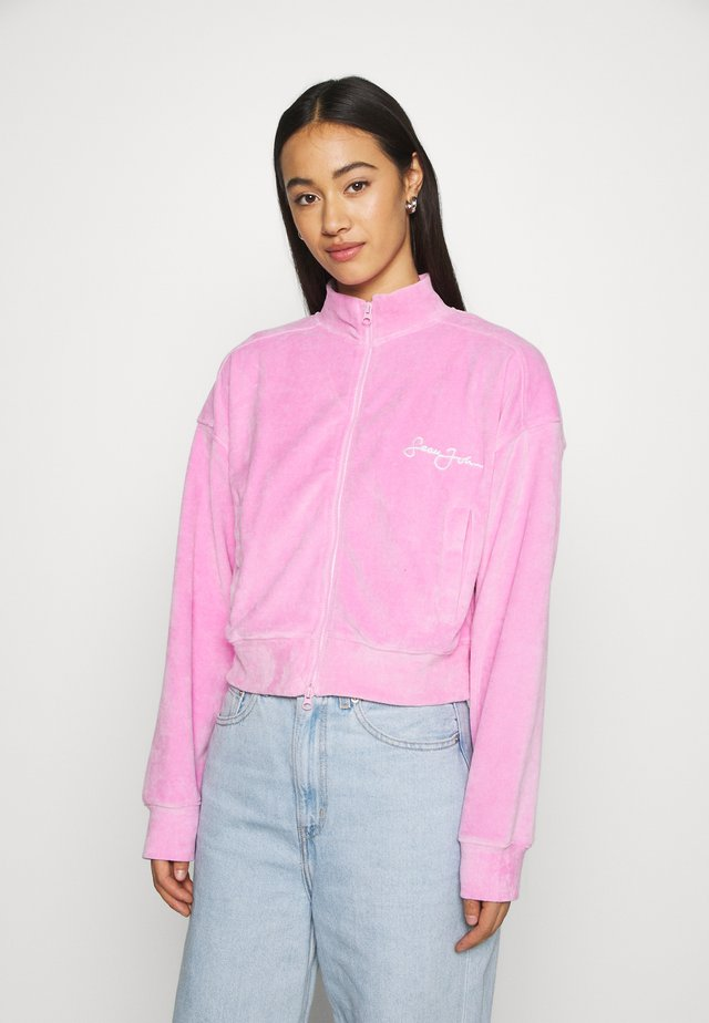 ZIP FRONT CROP JACKET - Zip-up hoodie - pink