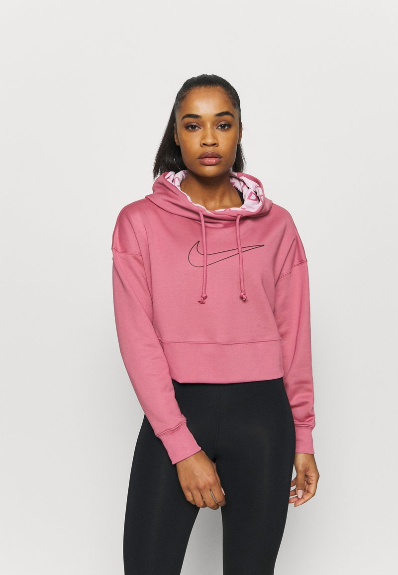 Nike Performance - ALL CROP - Jersey con capucha - desert berry/black