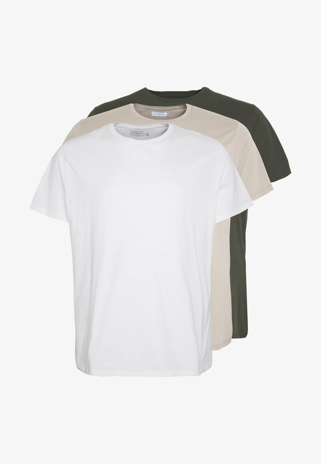 CLASSIC 3 PACK - T-shirt basic - white/khaki/tan