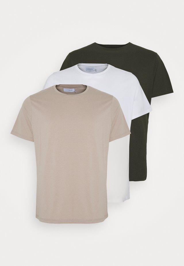 CLASSIC 3 PACK - T-shirts basic - white/khaki/tan