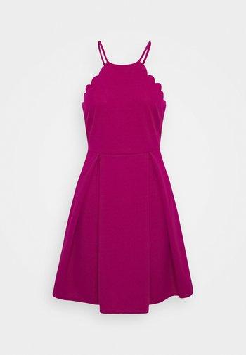 SCALLOP NECK SKATER DRESS - Cocktail dress / Party dress - magenta