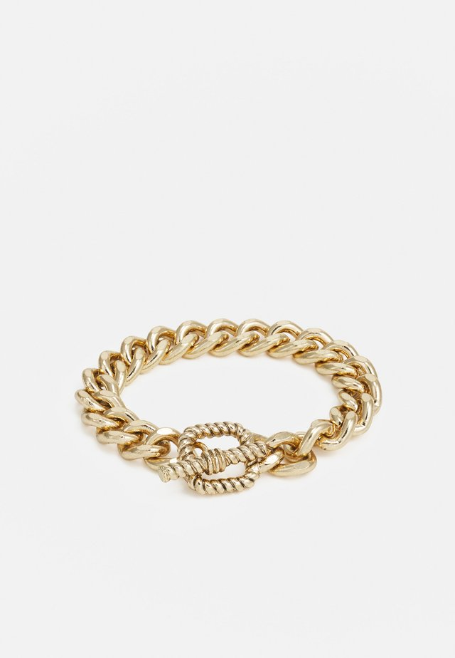 CHAIN BRACELET WITH TBAR TEXTURED CLASP - Bracelet - gold-coloured