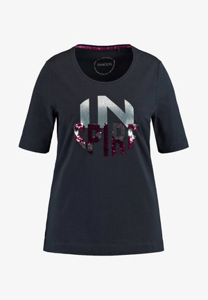 KURZARM  - T-Shirt print - navy gemustert