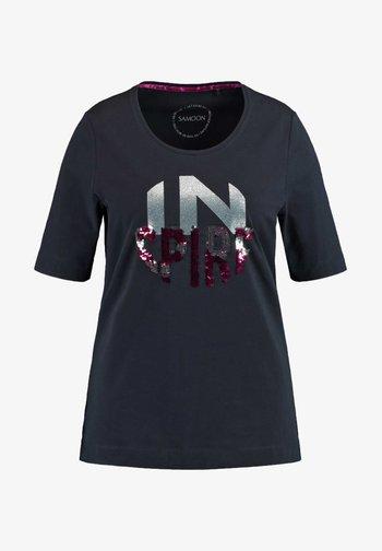 KURZARM  - Print T-shirt - navy gemustert