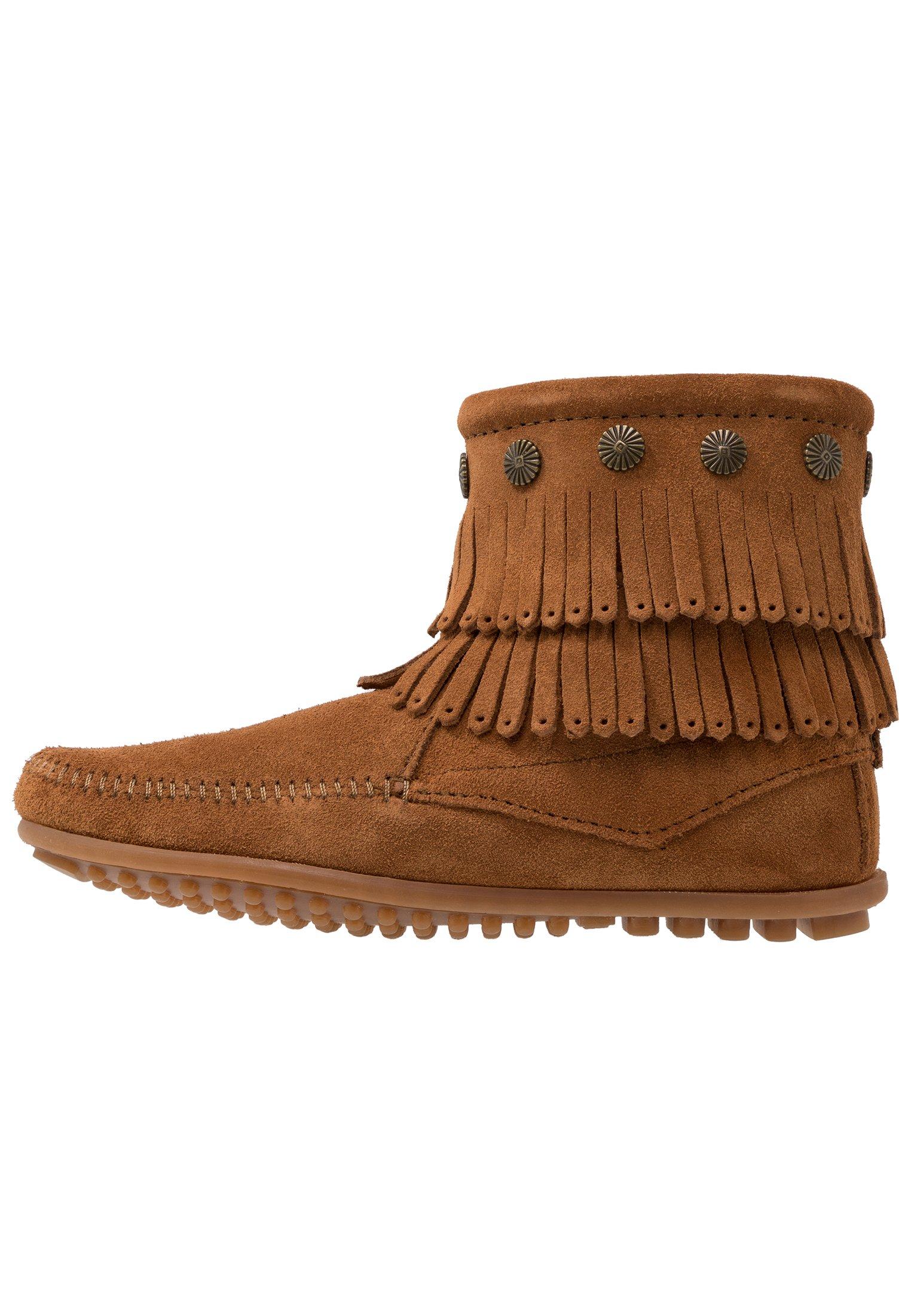 DOUBLE FRINGE SIDE ZIP Korte laarzen brown