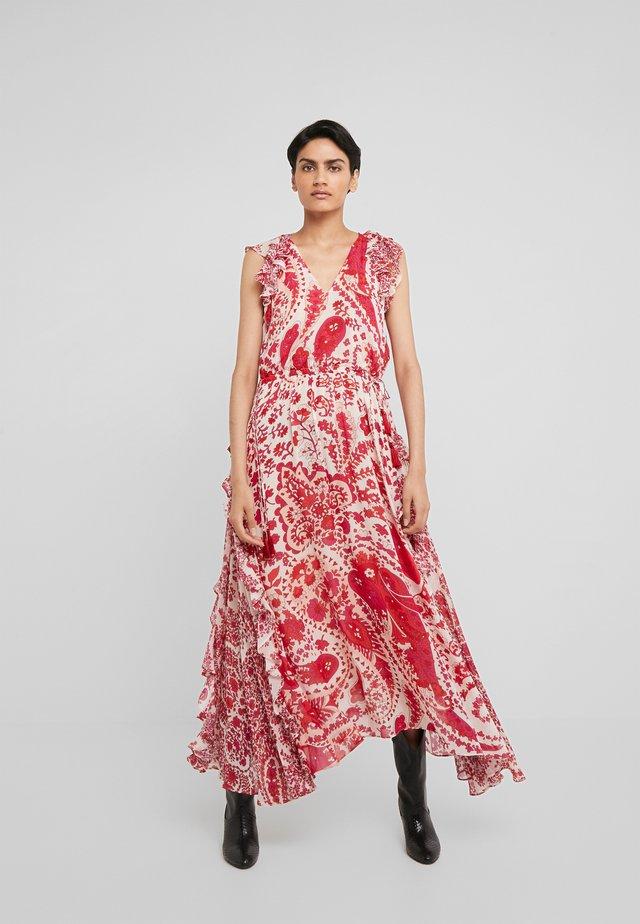 ABITO LUNGO GEORGETTE COULISSE - Maxi dress - rosso lava/bocciolo