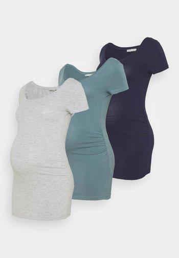 3 PACK - Camiseta básica - light grey/blue/dark blue