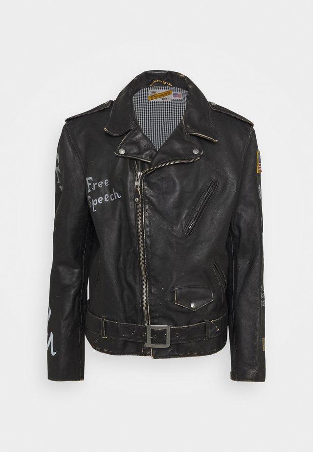PER - Kožená bunda - black