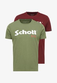 Schott - LOGO 2 PACK - Print T-shirt - khaki/bordeaux - 3