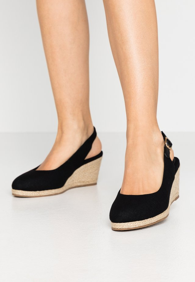 WIDE FIT SLING BACK WEDGE - Sandalias de cuña - black