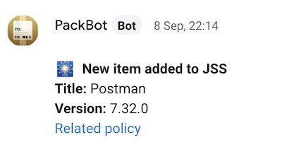 Chat message about a new version of Postman available.